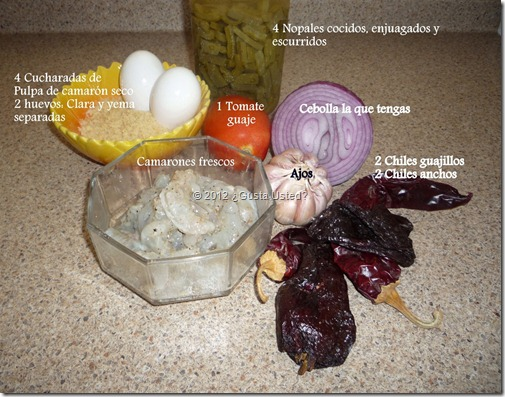 Ingredientes para Pipin con camarones y tortitas de camaron