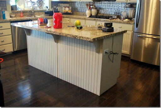 i started by adding some baseboard molding around the entire island  i had to pop off the corner trim put on by the builder  kitchen island re do u2013before  u0026 after   sweet pickins furniture  rh   sweetpickinsfurniture com