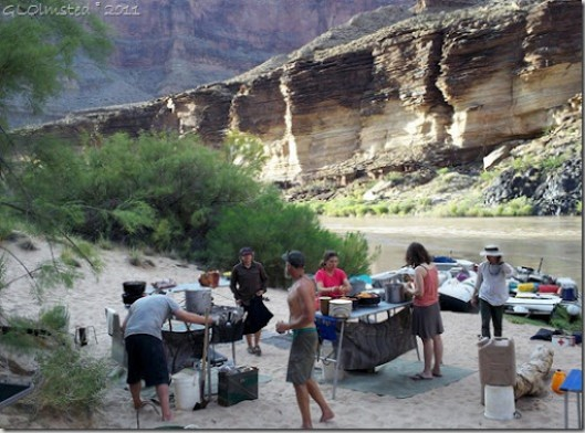 Preparing dinner Colorado River trip Grand Canyon National Park Arizona