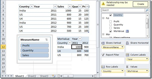 5 Drag column to pivot table and insert slicer