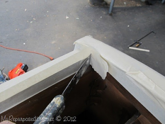 how to tape off a two tone cabinet