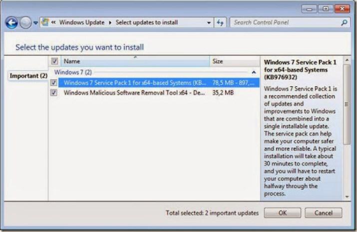 cara menginstall update windows 7