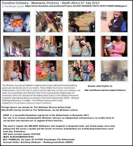 AFRIKANER JOURNAL FOOD DONATIONS WESMOOT PRETORIA POOR AFRIKANERS JULY72012
