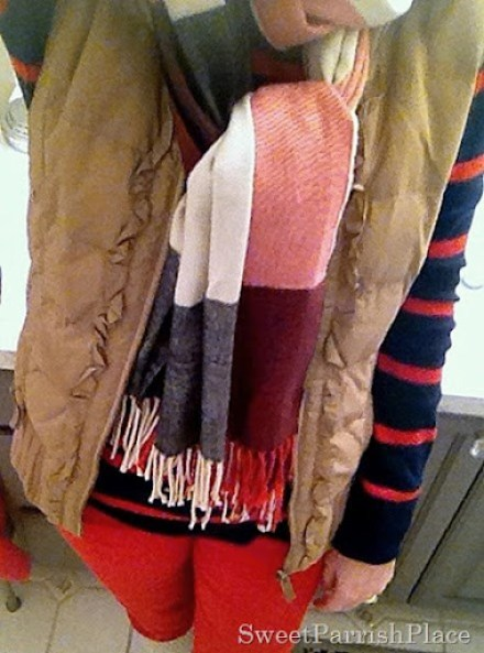 puffer vest with orange corduroys, stripes and plaid2