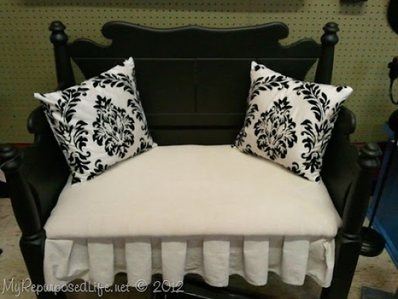 black Twin upholstered bed-bench