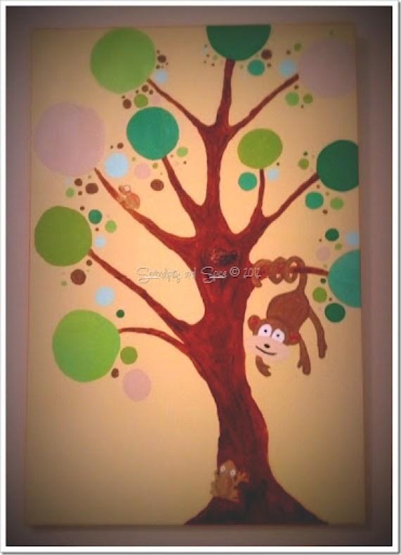 Monkey in Tree Canvas