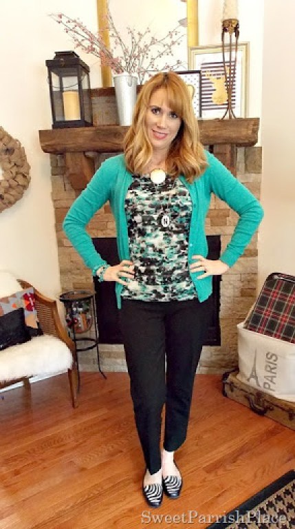 Black ankle pants, Tiered Floral tank, turquoise cardigan with zebra flats1