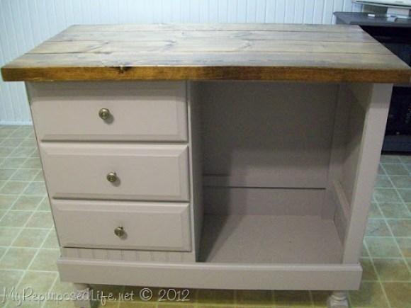 desk repurposed into an island
