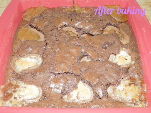 Creme Egg Brownie After Baking