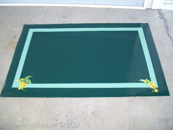 scrap vinyl flooring repurposed