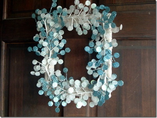 Winter wreath--square frame turned into wreath with blue and white glittered stems