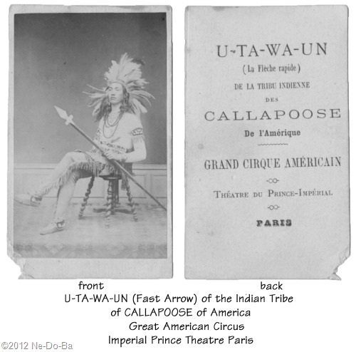 U-ta-wa-un in Paris with the American Circus c1867 (front & back)