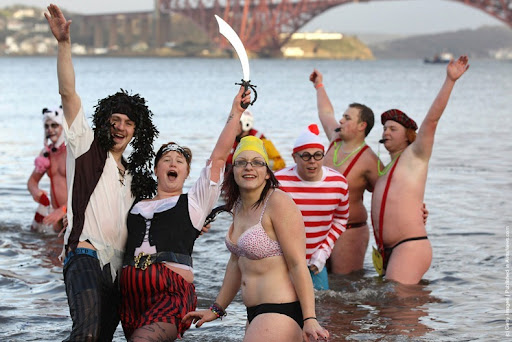 New Year's traditions: Loony Dook Edinburgh Scotland