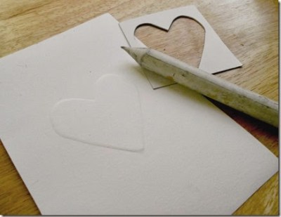 Embossed paper tutorial heart