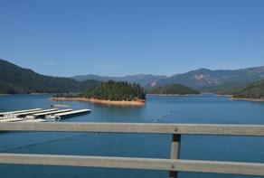 over the bridge crossing Shasta lake