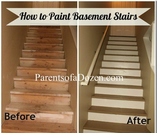 Parents Of A Dozen How To Refinish Basement Stairs | Stairs Leading To Basement | Beautiful | Painted | Unfinished Basement | Metal | Basement Peaked Roof