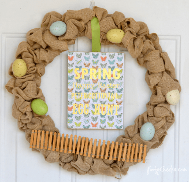 Simple Spring Easter Burlap Wreath