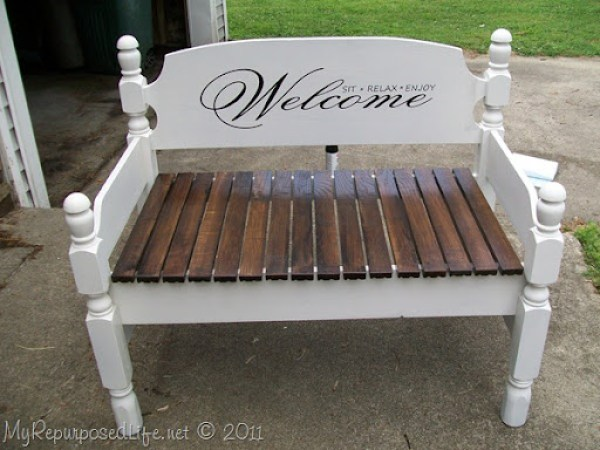 Welcome sit relax enjoy stenciled headboard bench