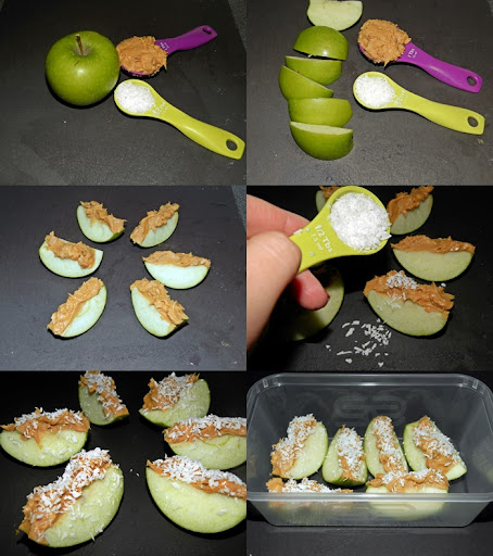 Healthy snack peanut butter apple