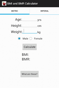 BMI and BMR calculator screenshot 0