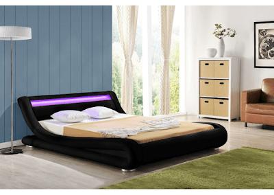 acheter lit 140x190 simili cuir noir avec eclairage led luminosa a marseille chez envie de meubles dilengo