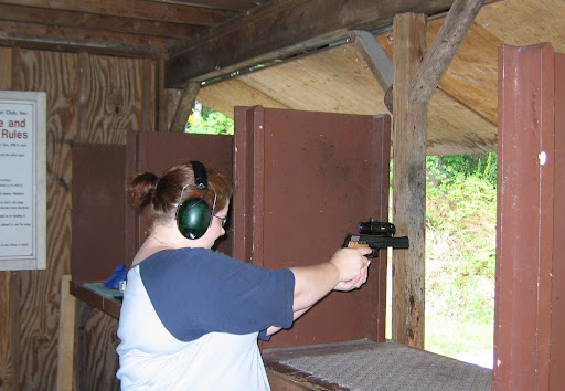 S&W 422 .22LR with red-dot sight.  The balance felt a bit off, but it was still fun.