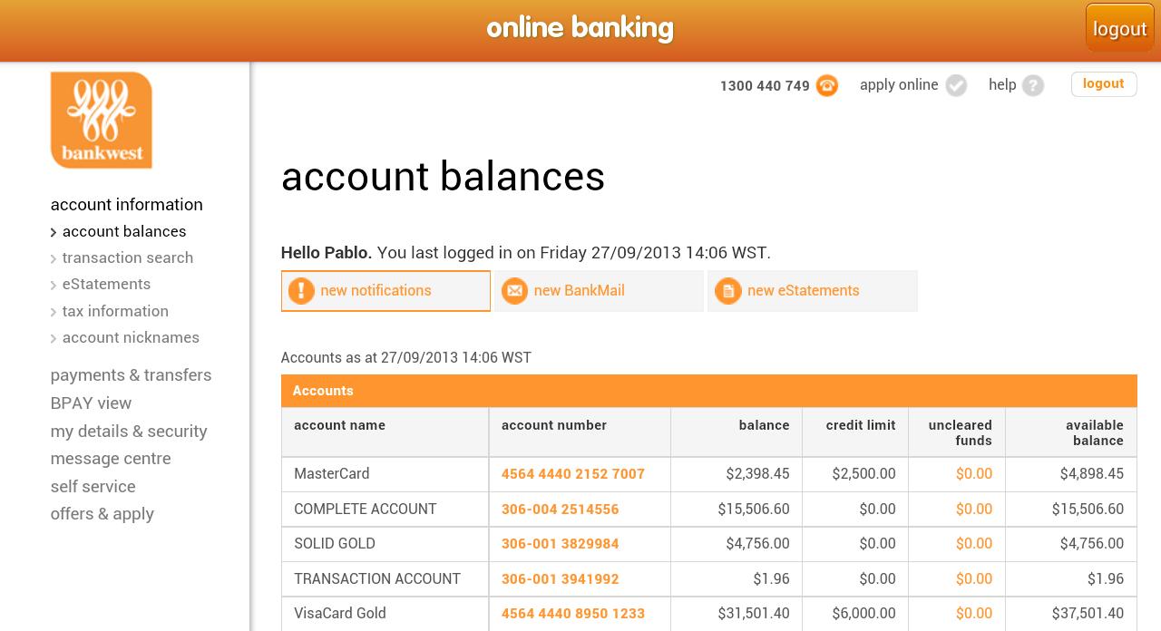 Bankwest Personal Banking Logon