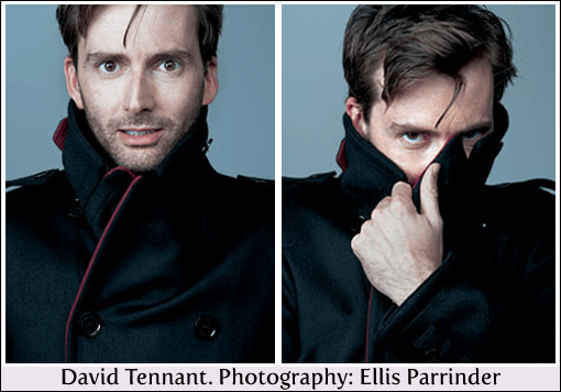 two panels showing David Tennant wearing a dark coat with red piping on the collar - in one shot he looks straight to camera, in the other he has drawn the collar up with one hand to cover his chin, mouth and nose, with just his eyes staring straight out at you