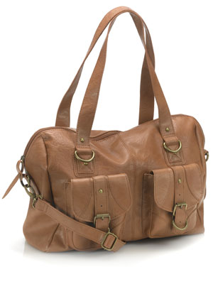 Pouchy Double Pocketed Tan Shoulder Bag by Accessorize