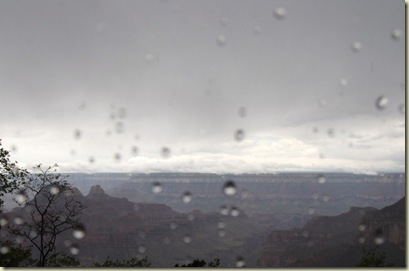Rainy view of Grand Canyon from North Rim Arizona