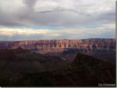 Light & shadows over canyon & river from Cape Royal Walhalla Plateau North Rim Grand Canyon National Park Arizona