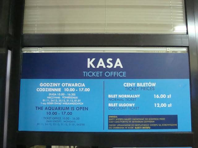 Kasa w Akwarium Gdyńskim - cennik biletów