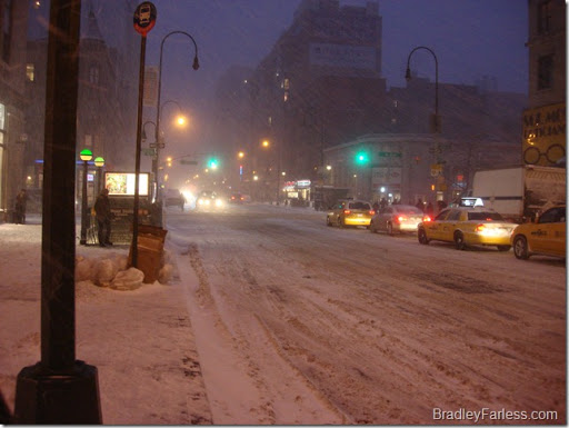 Driving snowfall on 14th street on the night of December 26th, 2010.