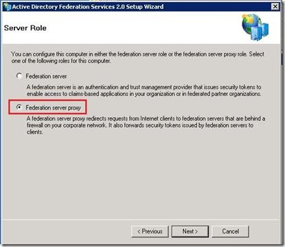 ADFS - Role select - ADFS Proxy Server - markup