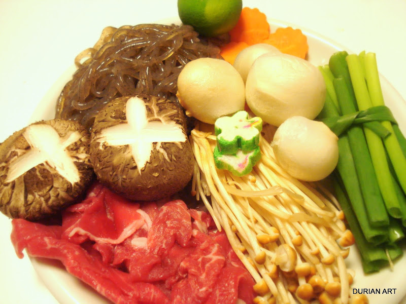 A tray of ingredients to hot pot… (mini sukiyaki dinner)