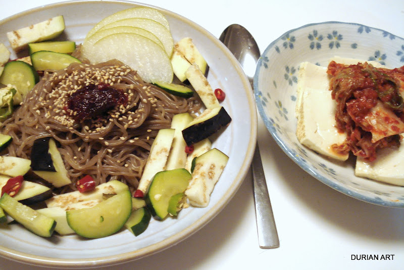 Raw-bergine on Korean soba
