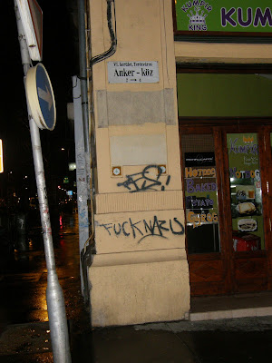 Fuck nazis, falfirka, Budapest,  VI. kerület, Terézváros, Anker köz, 6. kerület,  Rosa Antifa Wien,  tag,  falfirka,  teg,  writer,  graffiti,  antifasizmus, Budapest,  blog,  Terézváros,  VI. kerület, 6. kerület, Magyarország,  tag,  teg,  falfirka,  writers,  vandalizmus, graffiti,  graffito
