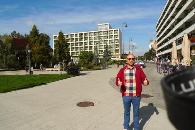 Me in front of other impressive building in Kecskemet.