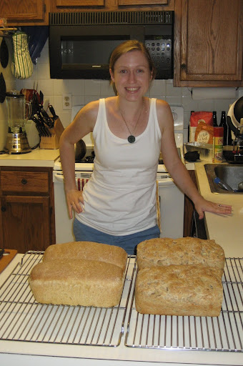 Sarah with the anadama bread (left) and whole wheat potato bread (right)