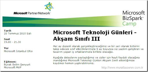 Microsoft Teknoloji Günleri Akşam Sınıfı 3