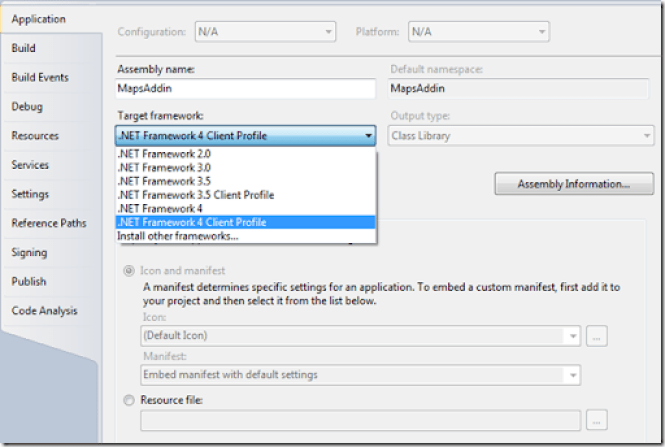 Setting the right target framework for a  NET project in Visual
