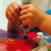 Textile Art with Toddlers (aka PUFFY PAINT!)