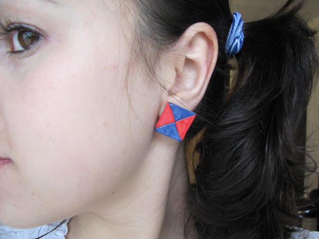 Cercei handmade patrate bicolore