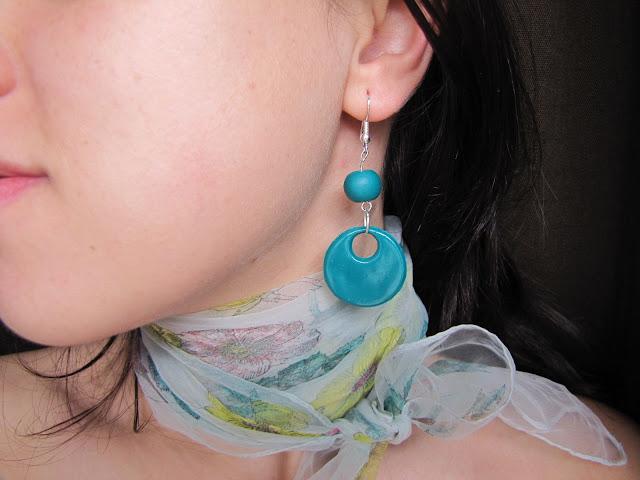 Cercei handmade din Fimo, verde jucaus
