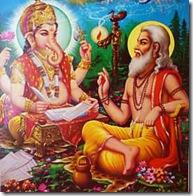 Vyasadeva narrates Mahabharata to Ganesha