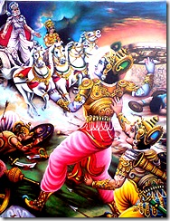 Krishna threatening to attack Bhishma