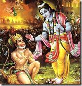 Hanuman worshiping Lord Rama