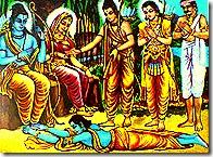 Bharata taking shelter of Rama