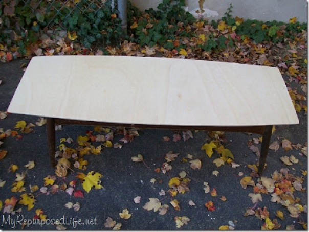 mid century modern coffee table base with new plywood table top