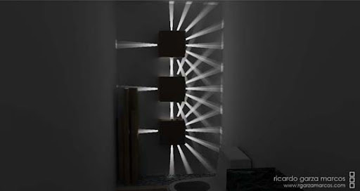lampara cubo de haces de luz